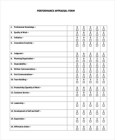 Sales Performance Appraisal Form Performance Appraisal Employee Evaluation Form Employee Performance Review