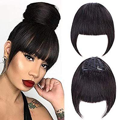 Amazon Com Gongxiu Bangs Hair Clip In Bangs Black For Women Human Hair Bangs Clip In Hair Exten Hairstyles With Bangs Diy Hair Extensions Hair Extensions Best