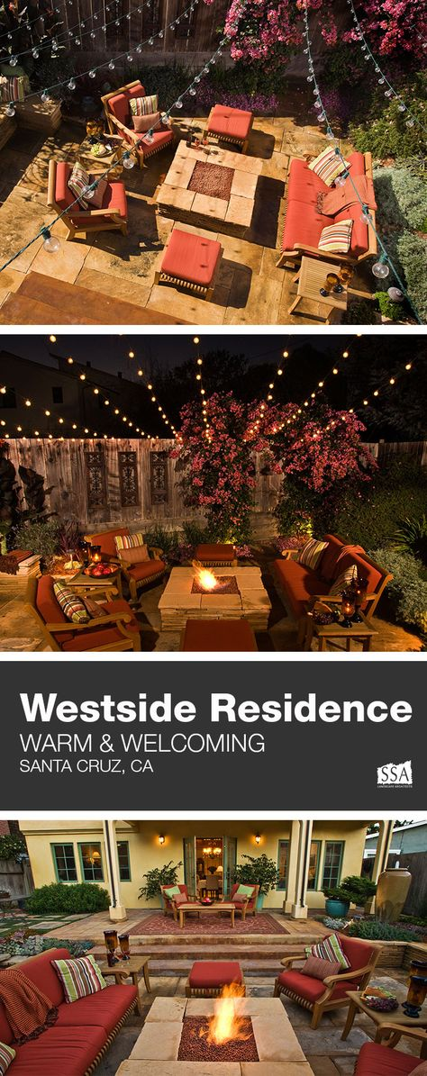 The goal of the project was to create a comfortable, warm outdoor living room which expands the indoor living space. #residentialdesign #homeimprovement #backyardinspiration #backyardinspo #mediterranean #californiaroom #outdoorentertaining #summernights #california #santacruz #westside #ssalandscapearchitects #creatingbetterplaces #outdoorliving #outdoorlounge #bistrolights #firepit