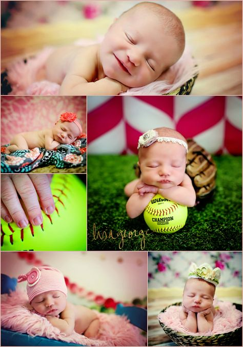 Sweet newborn baby girl, she's bound to play softball when she's older!