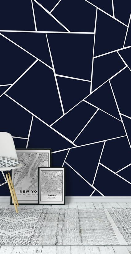 Buy Navy Blue Geometric Glam 1 Wall Mural Free Us Shipping At Happywall Com Geometric Wall Paint Blue Painted Walls Diy Wall Painting