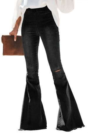 Black Distressed Bell Bottom Denim Pants Jeans Women Denim Men Woman Ladies Jeansmurah Jacket Pants Wome Bell Bottoms Women Jeans Elastic Waist Jeans