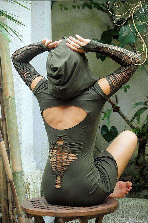 Fee Tunika Kleid. Burning Man Festival, Doof, Tanz-Outfit. Alternative Kleidung Elf Kleid handgefertigt in Bali
