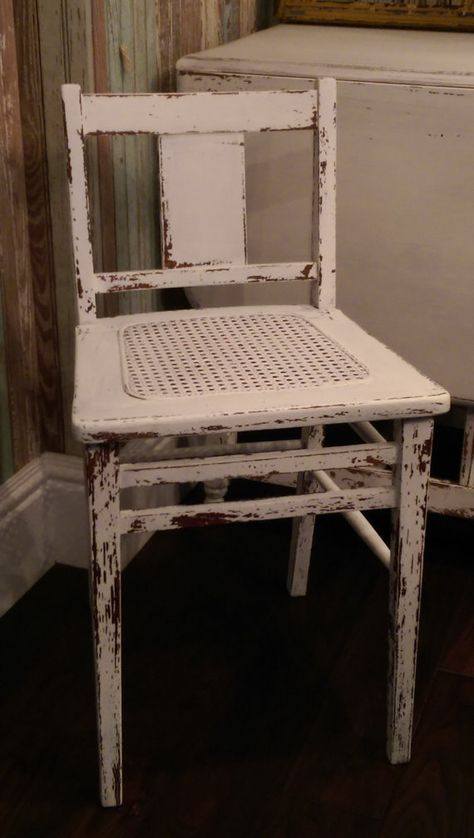 Vintage Distressed White Cane Chair Small By Prettydistressed White Distressed Desk Small Chair Wood Chair