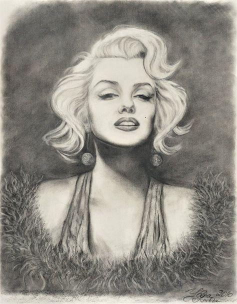 Charcoal Portraits Marilyn Monroe