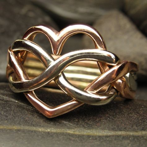 Heart infinity puzzle ring in 10kt in rose gold and by nellyvansee, $445.00
