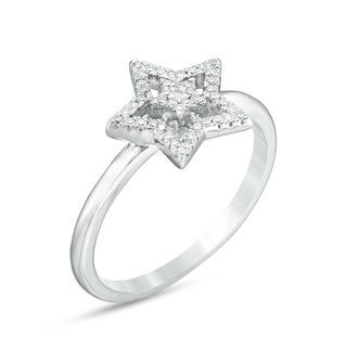 1 6 Ct T W Diamond Double Star Ring In 10k White Gold Zales In 2020 Star Ring White Gold Rings