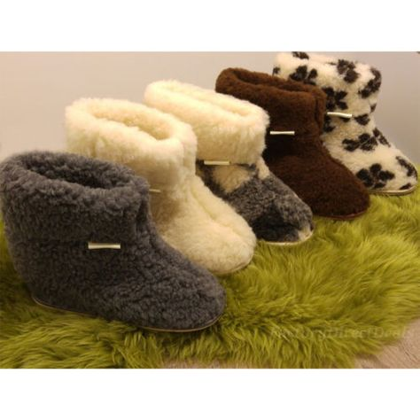 Natural Sheepskin Moccasin Boot Womens Mens Slippers Shoes Boots Wool Hard Sole
