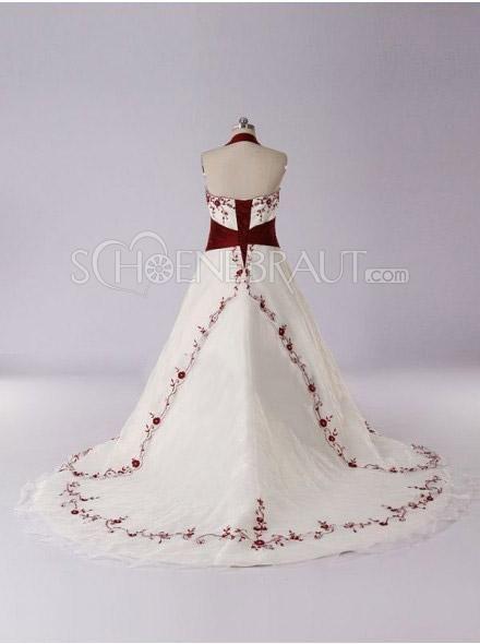 A-Linie Neckholder Rot Stickerei Satin Hochzeitskleid mit Kapelle-Schleppe [#UD8738] - schoenebraut.com
