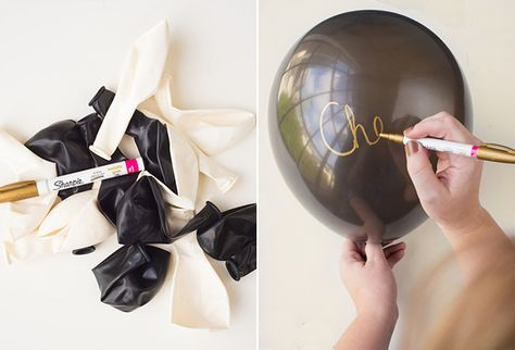 DIY Bachelorette Party in a Box | Snippet  Ink - Gold writing on balloons with paint pens!! DIY by Harmony Creative Studio