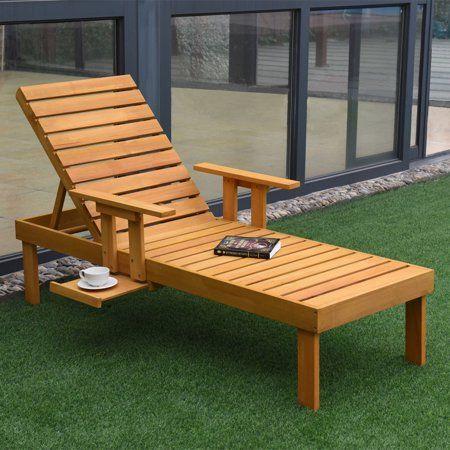Gymax Patio Chaise Sun Lounger Outdoor Garden Side Tray Deck Chair Beach Chair Wood Walmart Com Wooden Lounge Chair Lounge Chair Outdoor Beach Lounge Chair