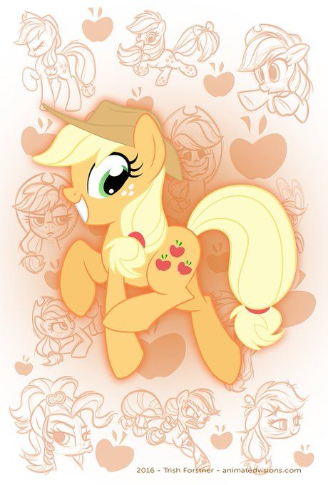 "Applejack My Little Pony Iron On Transfer 5/""x6.25/"" for LIGHT Colored Fabric"