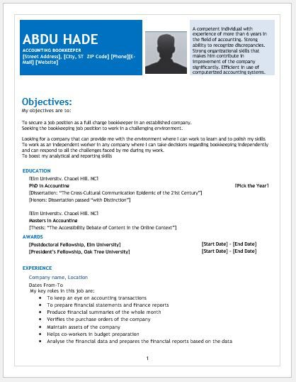 Accounting Bookkeeper Resume Template Download At Http