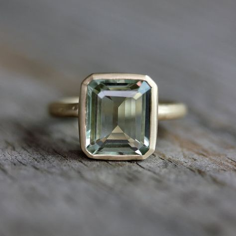 Emerald Cut Green Amethyst Ring, Prasiolite Ring in Recycled 14k Yellow Gold,  O my goodness!!!