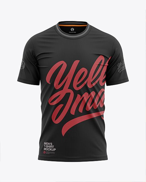 Download Men S Tight Round Collar T Shirt Front View In Apparel Mockups On Yellow Images Object Mockups Clothing Mockup Shirt Mockup Collar Tshirt