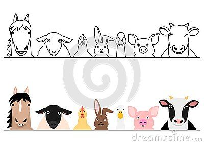 Cartoon Farm Animals Smiling In A Row With And Without Colors Design For Farms Or Ranch Baby Drawing Farm Animals Drawings