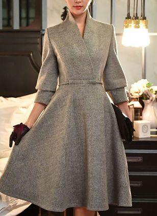 Solid Long Sleeve Midi X-line Dress