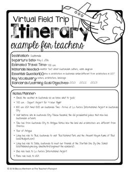 Itinerary Templates For Virtual Field Trips Itinerary Template