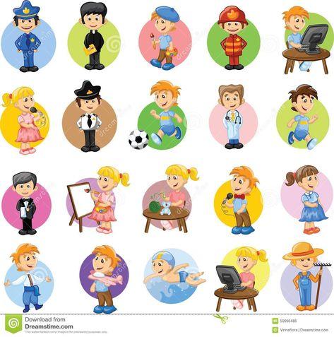 Personajes De Dibujos Animados De Diversas Profesiones Stock