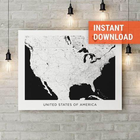 Usa Map Poster Print Download United States Street Map Usa Wall Art Black And White Map Poster Prints Artwork Prints Map