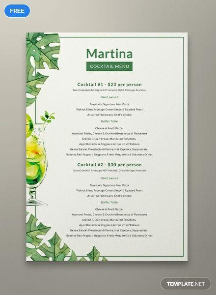 Free Cocktail Menu Menu Design Template Menu Template