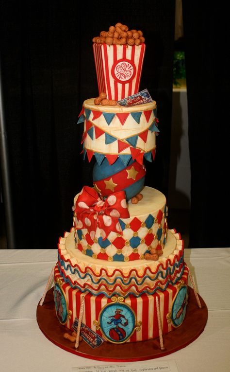 Red, Blue & Gold Stripes, Ruffles and Harlequin Vintage Circus Cake