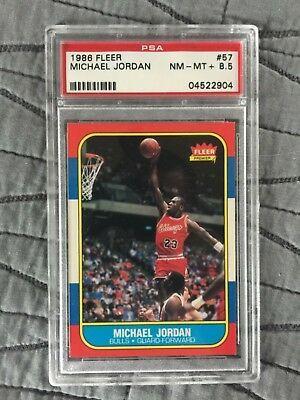 Rare 1986 Fleer 57 Michael Jordan Rookie Card Psa Nm Mt