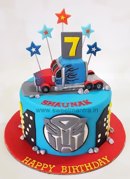Miraculous Transformers Theme Customised Fondant Cake With 3D Optimus Prime Funny Birthday Cards Online Alyptdamsfinfo