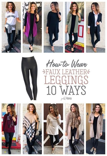 Fashion Look Featuring Old Navy Petite Tops and Wit & Wisdom Petite Jeans by justposted - ShopStyle Legging Outfits, Leggings Fashion, Chambray Shirt Outfits, Leather Pants Outfit, Spanx Faux Leather Leggings, Leather Skirts, Leopard Shoes Outfit, Leather Outfits, Leather Jeans