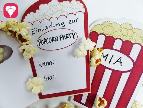 Kino Geburtstag Mit Popcorn Einladung Diy Kindergeburtstag