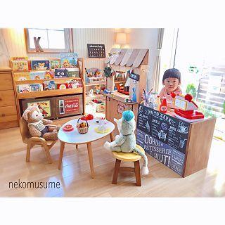女性で 3ldkの My Shelf Ikea おもちゃ収納 おままごと 無印良品 棚