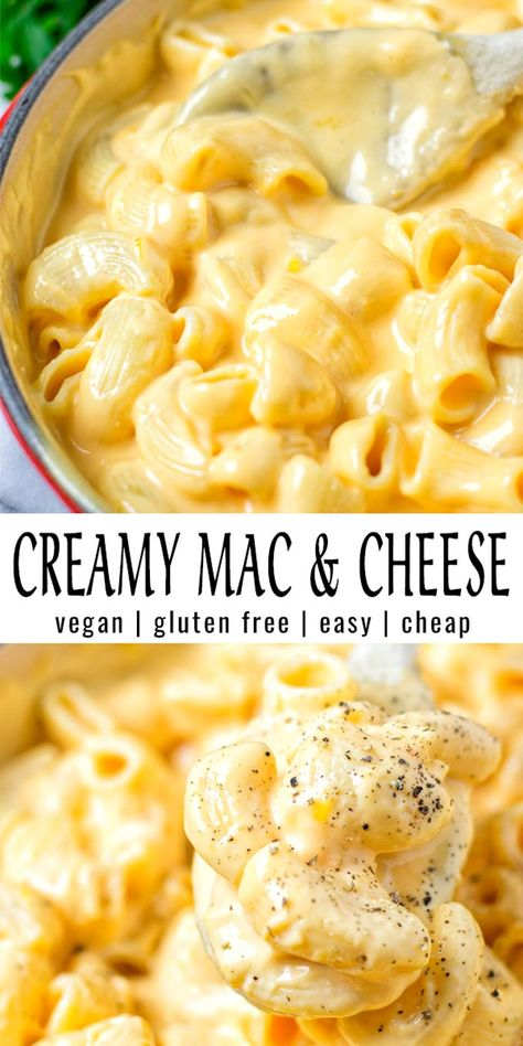 Easy and ready in 15 minutes: this Creamy Mac and Cheese is incredibly satisfying, delicious and so easy to make. Everyone will eat this, even the pickiest eaters. It tastes better than the real deal and no one would ever taste it is vegan. Entree Vegan, Vegan Dinner Recipes, Dairy Free Recipes, Cooking Recipes, Healthy Recipes, Healthy Food, Thai Recipes, Mexican Food Recipes, Italian Recipes