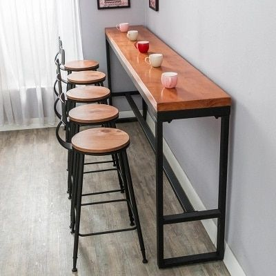 Retro Leisure Cafes Against The Wall Bar Table Home High Bar Table Long Solid Wood Metal Bar Table Kitchen Bar Table High Bar Table Bar Furniture