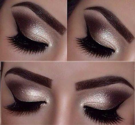 Trendy Eye Shadow Silver Black Prom Makeup
