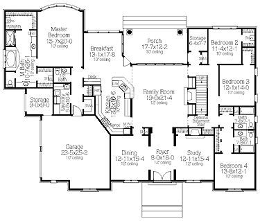 Great Finally A Good Mostly 1 Story Floor Plan Has A 2nd Story For A Media Room And Jeff S Office Bu Basement House Plans House Plans House Plans One Story