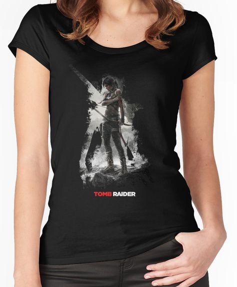 Grey Womens Fitted T-Shirt Tomb Raider /'Logo/' NEW /& OFFICIAL!