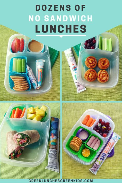 Dozens of NO sandwich lunches from Green Lunches, Green Kids   Lunch ideas for kids who don't like sandwiches   Non Sandwich Lunch Ideas