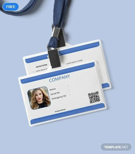 Free Company Blank Id Card Template Word Doc Apple Mac Pages Publisher