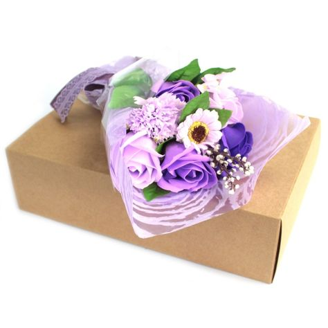 Luxury Soap Flowers In A Gift Box Purple Each Bouquet Contains