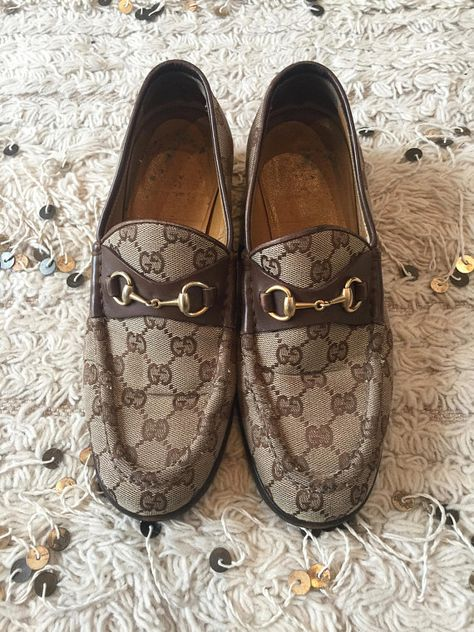 bb1bdfaef01 Vintage 70 s GUCCI GG MONOGRAM Beige Brown Canvas Horsebit Loafers Slip On  Smoking Shoes us 7.5 - 8