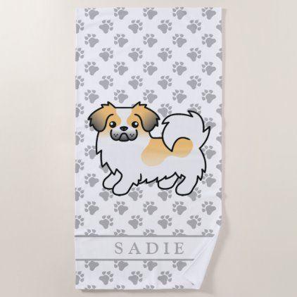 Fawn Sable Parti Color Tibetan Spaniel Dog Name Beach Towel