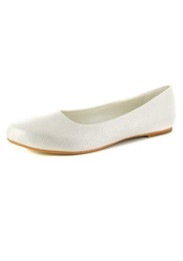 ANDRES MACHADO Damen Ballerinas Brautschuhe Weiß Schuhe