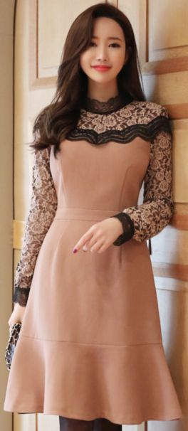 dress StyleOnme_Floral Lace Detail...