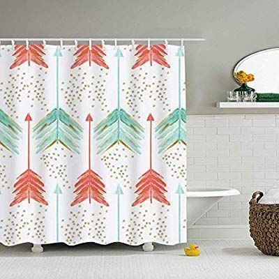 Amazon Com Wanl Coral And Teal Arrows Shower Curtain Waterproof