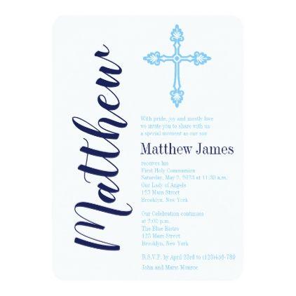 Elegant Cross First Holy Communion Invitation - #trendy #gifts - invitation templates holy communion