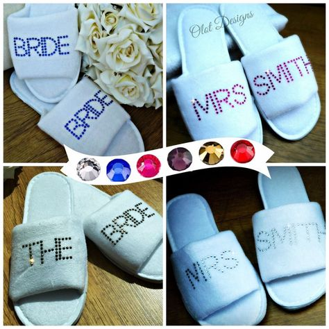 f60fabcef653c Personalised Wedding Bridesmaid Spa Slippers Bridal Hen Party White ...