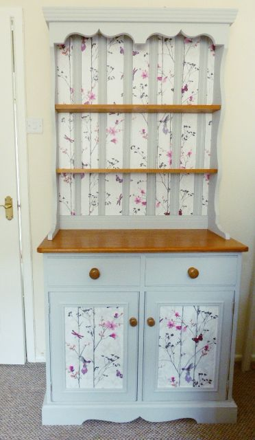 Chalk painted and decoupaged Welsh dresser in 2019
