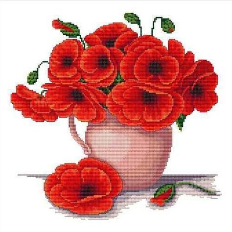 Vase with poppies Free Cross Stitch Pattern