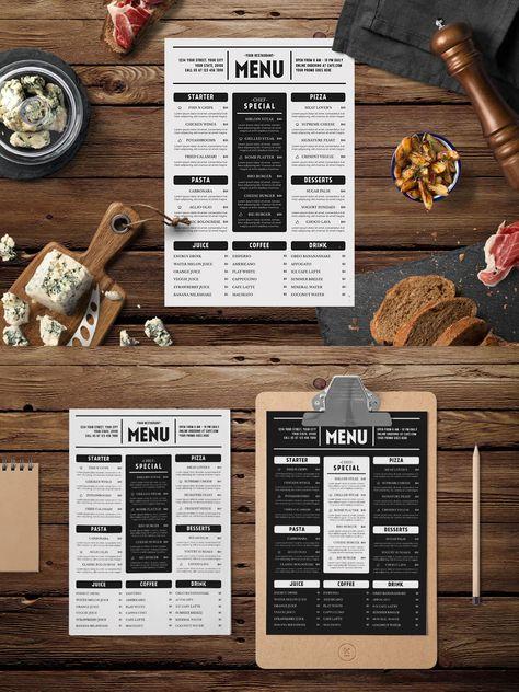 Simple Food Menu Template AI, PSD