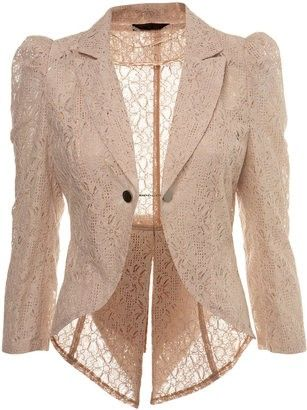 Shop soft touched feminist lace jackets lace jacket miss selfridge nude lace tails jacket - shopstyle blazers ZYWGTCK